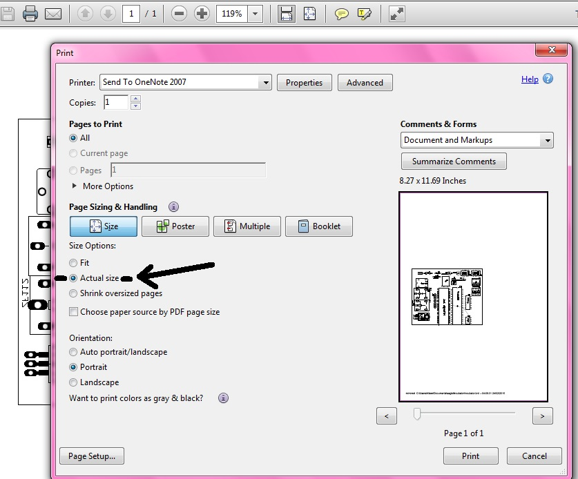 setting save option for pdf business card printing