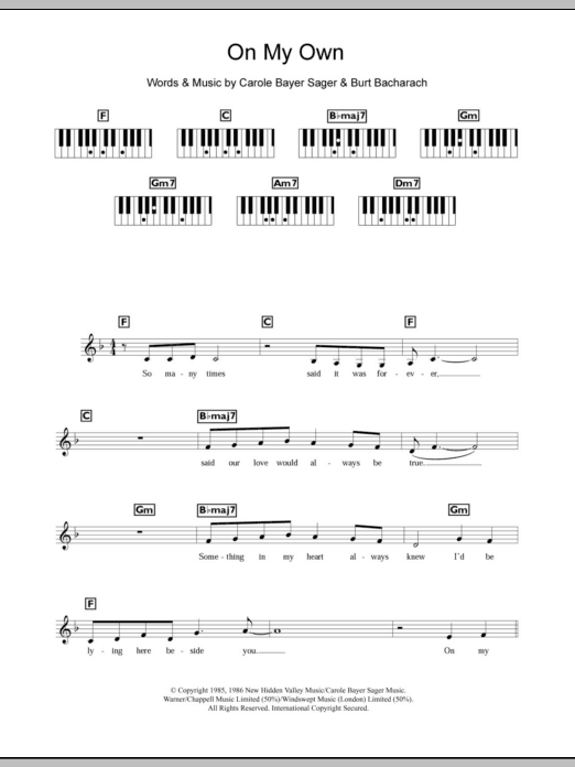 on my own easy piano sheet music pdf