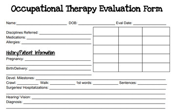 occupational therapy evaluation form pdf