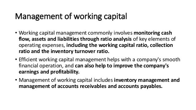 working capital management analysis pdf